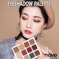 Novo mermer göz farı 12 renk inci mat renk makyaj disk toprak rengi mat göz farı paleti çıplak preslenmiş toz gölge