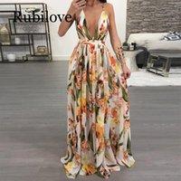 Rubilove abiti delle donne sexy di estate maxi Boho stile di stampa Party Dress profondo scollo a V Backless lungo abito Vestidos
