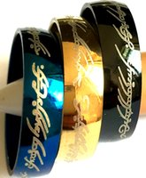 gros 36pcs seigneur de l'anneau 316L bague de bijoux bagues en acier inoxydable émail noir plaque d'or edelstahlringe