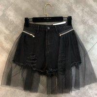 Женские шорты [EWQ] Splicing пряжа отверстие сращенные две износа тренд джинсовая сумка бедра сексуальная женская короткая мода женщины 2021 летний qk149
