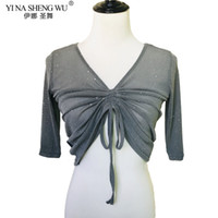 Escenario desgaste mujeres baile superior disfraz de vientre medio manga sexy transparente plata malla topstees oriental tops Práctica
