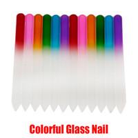 Ongles en verre coloré Fichiers durable cristal Lime à ongles Nail Art Tampon NailCare outil pour manucure polonais UV Outil En Stock