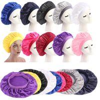 58cm Katı Satin Bonnet Saç Şekillendirme Cap Uzun Saç Bakımı Kadınlar Gece Uyku Şapka İpek Kafa Wrap Duş Cap Saç Şekillendirme Aracı ayarlayın