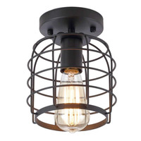 Industrial Vintage Flush Mount Ceiling Light Rustic Metal Cage Pendant Lighting Lamp Fixture for Hallway Stairway Kitchen Garage