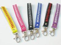 DHL200PCSソフトボールキーチェーン新着7彩色野球キーチェーン、ファスティピッチソフトボールアクセサリー野球縫い目キーチェーン