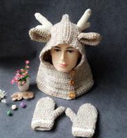 Девочки зима Рождество Hat шарф + перчатки Детский мультфильм Олень Трикотажные шапки теплые перчатки с капюшоном шарф Hat EEA582