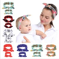 Madre fascia del bambino Set Turbante mamma figlia Rabbit Ears fasce elastiche a quadri Fiore Knot Headwrap capelli della fascia Headwear Imposta 6 D3509 Colore
