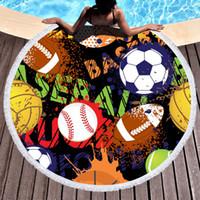 Toalla de playa redonda de girasol Manta de fútbol de béisbol Carta Impreso Toallas de borla Toalla de baño de verano Estera de yoga Almohadillas de exterior GGA1989