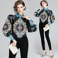 Retro Siyah Tasarımcı Gömlek yazdır Bayanlar Lüks Casual Büro Uzun Kollu Bahar Güz Pist Bayan Düğme Toplama Boyun Bluzlar Yeni Tops
