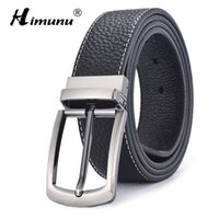 Wholesale- [HIMUNU] Marke beidseitigen Druck Rindleder-echtes Ledergürtel für Männer Modedesigner Gürtel Männer Qualitäts-Pin Schnalle Jeans cintos