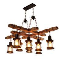 Estilo Industrial Cafe antiguo colgantes Personalidad Arte luz creativa colgante de madera Lámparas americana Sala de estar retro cuerda de cáñamo luces pendientes