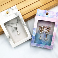 Cajas de paquete de joyería de papel de mármol con mini collar de PVC de la ventana Cajas de visualización de pendientes