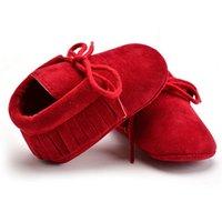2020 PU-Veloursleder Neugeborenes Baby-Mädchen-weiche Schuhe Fringe weichbesohlte Anti-Rutsch-Krippe Lace-up Babyschuhe