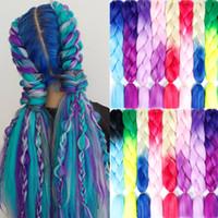 Frauen 24 Zoll Crochet Geflechte Box Zöpfe 100g / pc Ombre Jumbo Geflechte Synthetic flicht Haar-Verlängerungen Kopfbedeckungen
