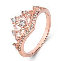 Moda in oro rosa argento anelli di colore cristallo cuore anelli da donna corona zircone anello gioielli da donna fidanzamento festa all'ingrosso
