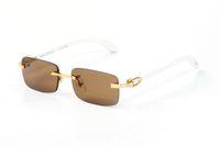 2020 Sport Büffelhornbrille oculos randlos Mode Rechteck Sonnenbrillen für Männer Frauen eyewear zonnebril Zubehör mit Kasten Lünetten