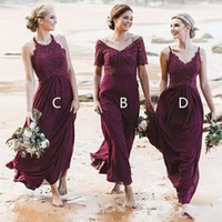 Stylish Beach Burgundy Country Bridesmaid dresses Mix and Ma...