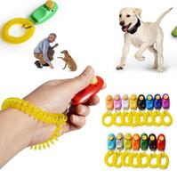 Cão de Estimação Click Clicker Treinamento Pulseira Multicolor Trainer Aid Alça de Pulso Cheap Puppy Train Tool Atacado