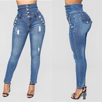2019 Мода Hole Высокий талии Узкие джинсы Женщины карандаш штаны хлопок Тонкий Упругие женщин Длинные повседневные джинсы для женщин