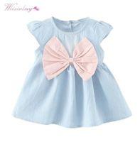 WEIXINBUY Baby Girls Bow-not Design Mini vestido de los niños del estilo del verano del verano de manga corta vestido de fiesta ropa de los niños