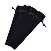 50 sztuk czarny aksamitny pióro uchwyt rękawowy pojedynczy długopis torba na ołówek