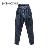 TWOTWINSTYLE Rivet Denim Trousers For Women High Waist Women...