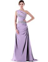 사용자 정의 제작 2021 신부 들러리 공식 드레스 보라색 한 어깨 주머니 구슬 긴 바닥 길이 주니어 신부 들러리 드레스