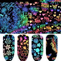 8PC Nail Art Dekorasyon Transferi Unicorn Sticker İpuçları Lazer Yıldız Folyo Holografik Çiçek Noel Dreamcatcher Geometrik 4 * 20cm