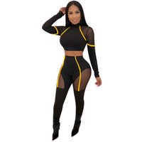 HISIMPLE 2019 Spring Women Two Piece Set Crop Top and Pants Sexy Mesh Patchwork Active Tracksuit Sweatsuit Women High Waist Pencil Pants