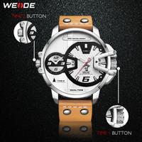 CWP 2021 Weide Relojes Hombre Lujo Deporte Militar PU Marrón Correa de cuero Pulsera Banda Cuarzo Movimiento Analógico Reloj de pulsera Relogio Masculino