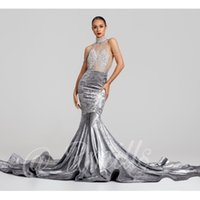 Silver Velvet 2019 New Mermaid Prom Dresses Long Halter Neck See Through Beads Backless Abito formale Abiti da sera Abiti da festa larghi