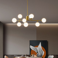 Moderna rame Soggiorno Lampadario Nordic sfera d'attaccatura di vetro Creative Light Camera Chandelier Lighting Branch Sospensione