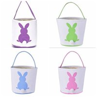 Bunny Handbags Bunny Basket Kids Candy Baskets Rabbit Tail Ears Barrel Bags Easter Party Festival Candies Easter Eggs Storage Totes PYC7152