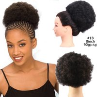 Afro Kinky Curly Hair Bun Chignon Clip In Hair Pieces Adjust...