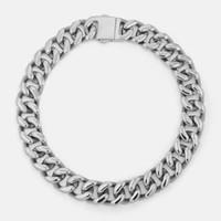 Vitaly Tasarım 14 MM 316L Paslanmaz Çelik Curb Küba Gerdanlık Zincir Bağlantı Kelepçeleri Erkekler için Önemli Toka Toka Kolye ile Kapatın