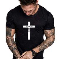 T-shirt da forma de cruz europeus e americanos estilo de Verão de homens magros T-shirt em torno do pescoço de manga curta letra T-shirt