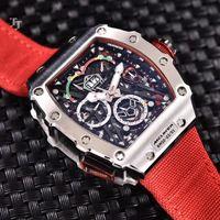 Relojes de pulsera Marca Negro Cavas Red Hombres Reloj de Sapphire Automático Mecánico Silver Rosa Oro Limited Flyback Titanium 904L Acero inoxidable