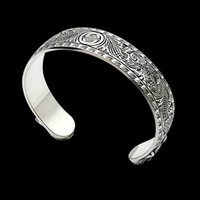 Hot Stainless steel silver plated bangles luxury retro style carved tiger head face opening men and women bracelets couple holiday gift jew