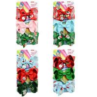 3 Inches Baby Weihnachten JOJO Bogen Haarspangen mit Weihnachtsmann Schneemann-Weihnachtsbaum-Muster-Mädchen-Kind Spangen Zubehör 3pcs / set