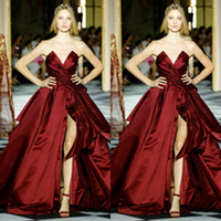 2019 Dark Red Prom Dresses Zuhair Murad Ruched Lace Beaded S...