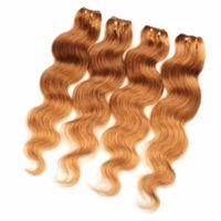 VMAE Strawberry Blonde Hair Weave européenne 3 Bundles couleur # 27 Corps d'onde année 11A Non Shed Vente chaude Virgin humaine Extensions de cheveux