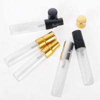 5 ML Boş Temizle Doldurulabilir Parfüm Atomizer Şeffaf Cam Sprey Şişe Altın Gümüş Kap ile Taşınabilir Örnek Cam Şişeler 3 renkler