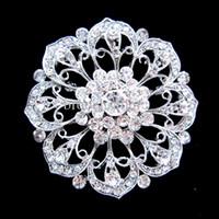 Spilla Flowe in cristallo da sposa e cerimonia nuziale in strass color argento