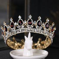 Novo concurso completo círculo tiara escuro cristal cristal strass king rainha coroa casamento coroas de nupcial festa festa art deco barroco headpieces