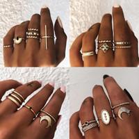 17SF Anéis de junta vintage para mulheres boho flor geométrica lua anel de cristal conjunto bohemian midi dedo jóias baga femme 2019