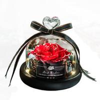Ewige Blume erhaltene Valentinstag-Geschenk Exclusive Rose in Glaskuppel mit Lights Ewiges echtes Rosen-Muttertagsgeschenk