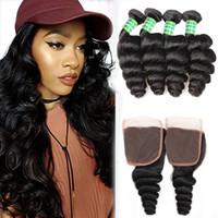 Ola suelta cabello humano brasileño 4 paquetes con cierre baratos baratos las extensiones de cabello virgen brasileño paquetes sueltos de onda con tejido de cierre de encaje 4x4