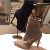 إمرأة أصابع مدببة الكاحل HLAF أحذية عالية الكعب 6-8CM الصوف الجوارب جورب تشبه السيدات عالية أعلى الأزياء متماسكة الأحذية كعب حجم 34-40 أسود براون