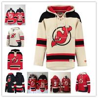 Özelleştirilmiş Erkekler New Jersey Devils Hoodie 13 Nico Hischier 9 Taylor Hall 35 Cory Schneider 30 Martin Brodeur 6 Andy Greene Dikişli Sweatshirt