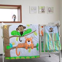 8pcs Baby Bedding Set for Boys Green Jungle Monkey - comforte...